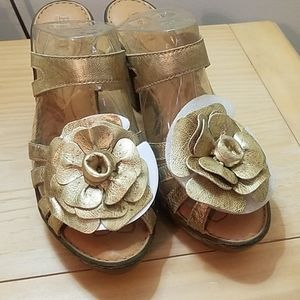 Born gold flower leather sandals